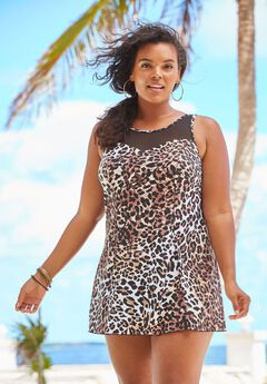 Mesh-Trim Swimdress with Tummy Control,