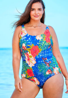 eac4cd7e4178f One-Piece Tank Swimsuit with Adjustable Straps