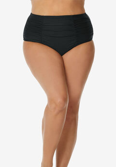 Shirred High-Waist Swim Brief by Raisins Curve,