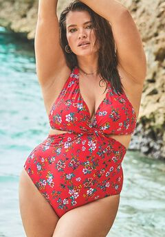 Cut Out V-Neck Halter One Piece Swimsuit,