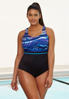 Empire-Waist Swimsuit by Aquabelle,