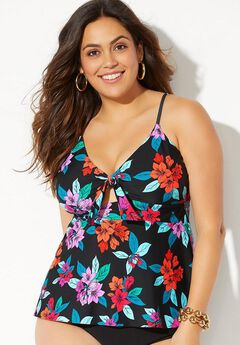 Cut Out Tie Front Sweetheart Tankini Top,