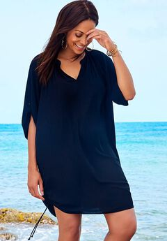 Tunic Swimsuit Cover Up, BLACK