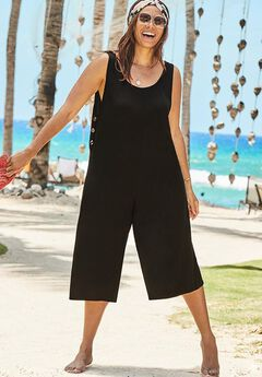 Jumpsuit Cover Up with Buttons, BLACK