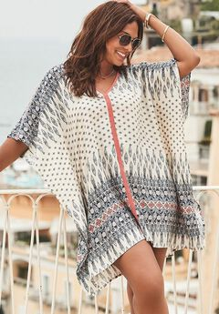 Beach Cover Up Tunic, BLUE BOHO CORAL