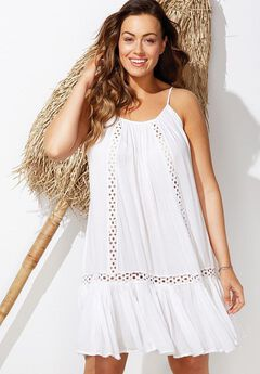 Crochet Dress Swimsuit Cover Up, WHITE