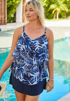 Double-Tier Tankini Top in Mesh,