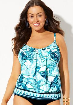 Blouson Tankini Top with Shirring, TEAL ROPES
