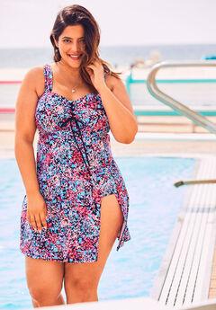Lace-Up Swim Tankini Top,