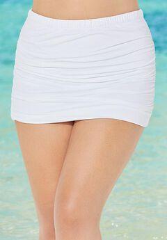 Shirred Swim Skirt, WHITE