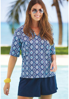 Three-Quarter Sleeve Swim Tee, SEAFOAM MEDALLION