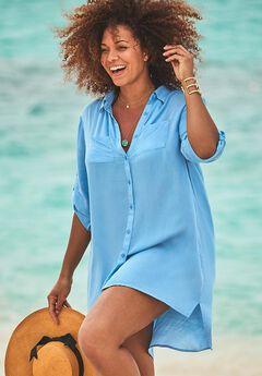 Beach Cover Up Button Up Shirt,