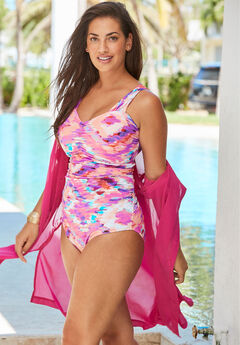 Shirred One-Piece with Molded Cups, PINK BATIK TIE DYE