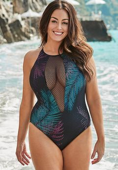 Plunge One Piece Swimsuit with Mesh,