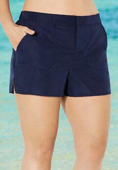 Cargo Swim Shorts with Side Slits,