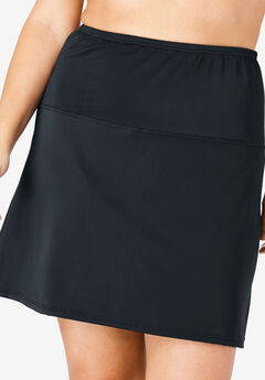 High-Waisted Swim Skirt with Built-In Brief, BLACK