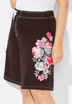 Floral Print Board Shorts,