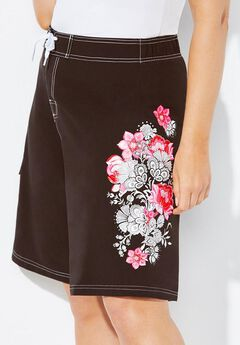 Floral Print Board Shorts, BLACK WHITE PINK FLORAL