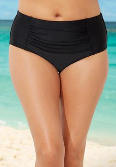 Black Ruched Swim Brief ,