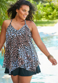 Long Drape-Front Tankini Top,