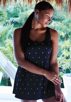 Studded Trapeze Swimdress,