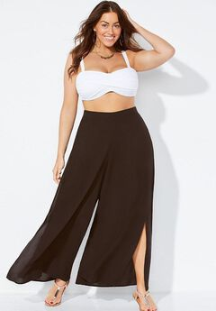 Cover Up Beach Pants with Slits, BLACK