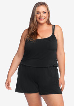Swim Romper by Maxine of Hollywood, SOLID BLACK
