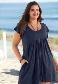 Box-Pleat Cover Up, NAVY