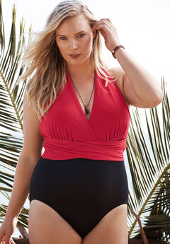 Plunge-Neck Swimsuit by TrimShaper® by Miraclebrand, RED