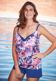 2-in-1 Blouson Tankini Top.,