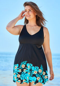 Floral Border Swim Dress, TROPICAL BORDER