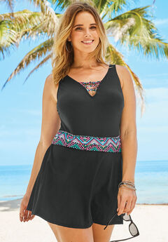 Knot-Detail Swim Dress, BLACK MULTI TRIM