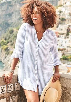 Button Up Beach Cover Up Shirt, STRIPE