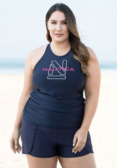 High-Neck Swim Tankini Top by Nautica, NAVY LOGO