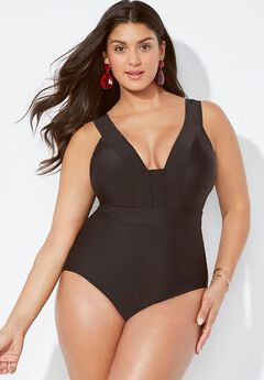 Mesh V-Neck One Piece Swimsuit,