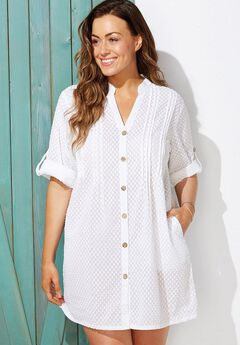 Sheer Button Up Shirt Swimsuit Cover Up, WHITE