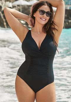 Twist Ruched One Piece Swimsuit, BLACK