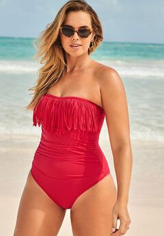 Fringe Bandeau One Piece Swimsuit,
