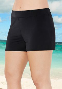 Banded Waist Short Swim Bottom, BLACK