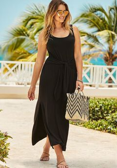 Knot Maxi Dress Cover Up, BLACK