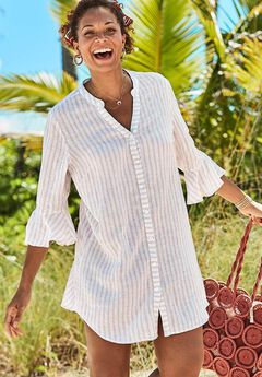 Sandra Button Up Cover Up Shirt,
