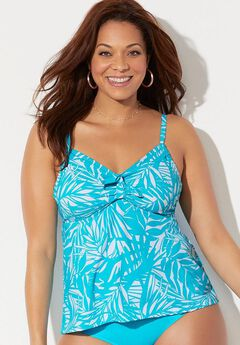 Cup Sized Tie Front Underwire Tankini Top,