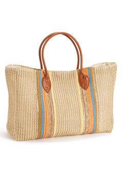 Striped Straw Beach Bag,