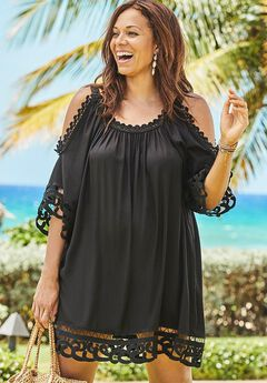 Cold Shoulder Beach Cover Up Tunic, BLACK
