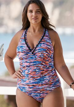 Deep V-Neck Swimsuit By PB Sport by Penbrooke®,