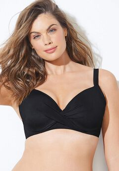 Twist Front Underwire Bikini Top, BLACK