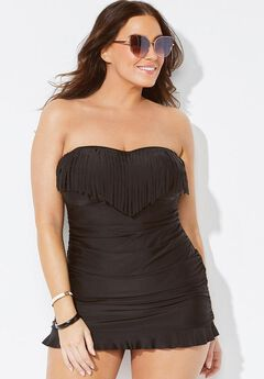 Black Fringe Bandeau Swimdress,