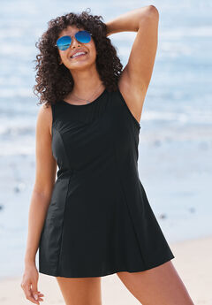 Mesh-Trim Swim Dress, BLACK