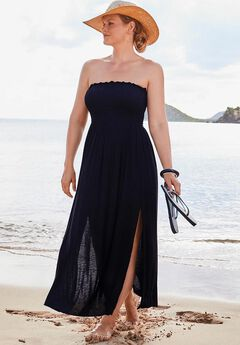 Strapless Maxi Dress Swimsuit Cover Up, BLACK
