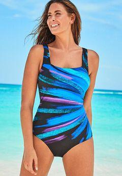 Lycra Square Neck One Piece Swimsuit,